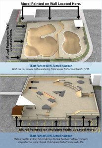 The city of Vista is looking for artists to create murals on the walls of two new skate parks currently under construction.  Rendering courtesy city of Vista