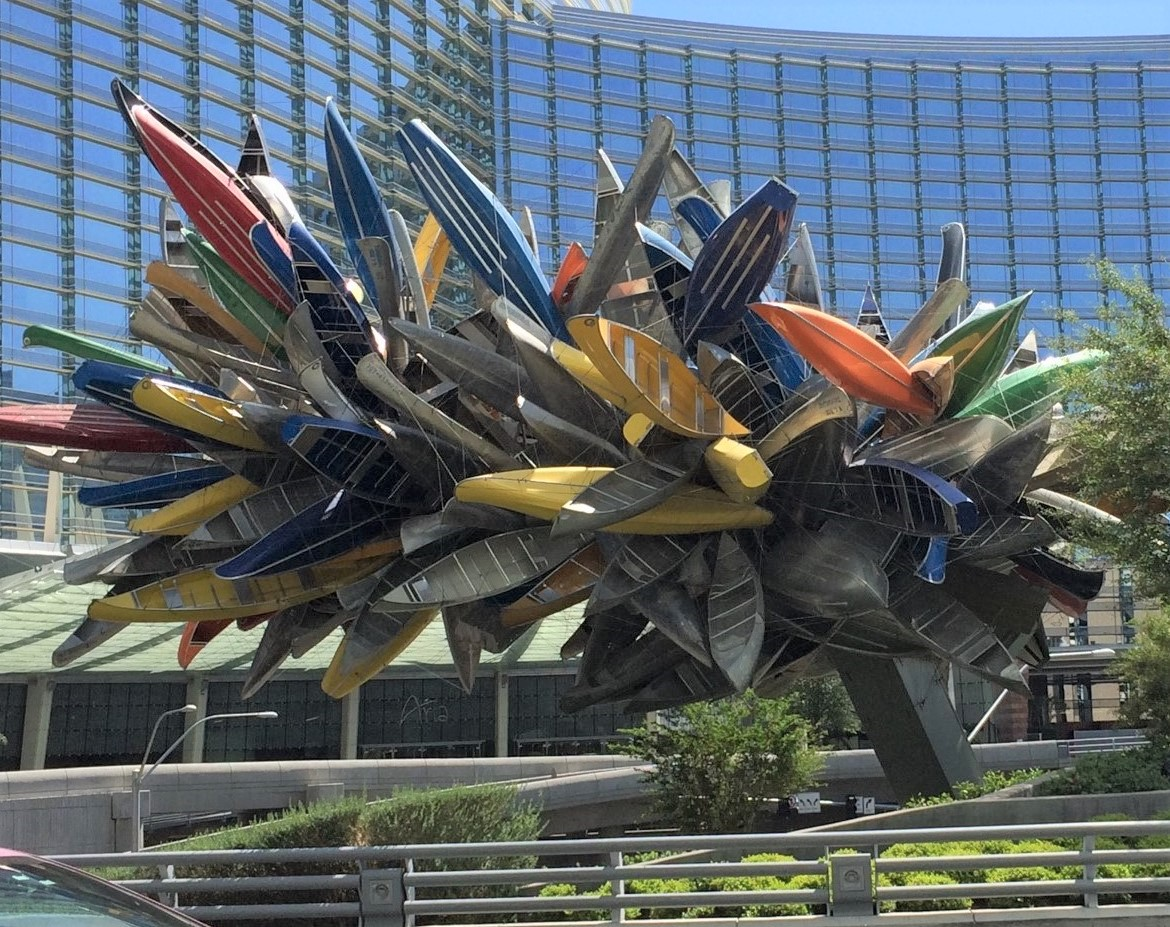 """More than 200 rowboats, kayaks, sailboats and canoes have been strung together by artist Nancy Rubins to create """"Big Edge."""" The sculpture is several blocks off the Las Vegas Strip and can be seen from the entrance to the Vdara Hotel in the City Centre area. (Photo by E'Louise Ondash)"""