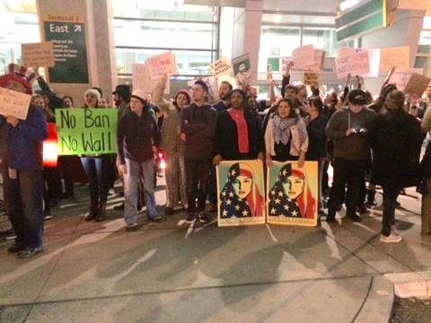 Executive order sparks protests at Lindbergh Field