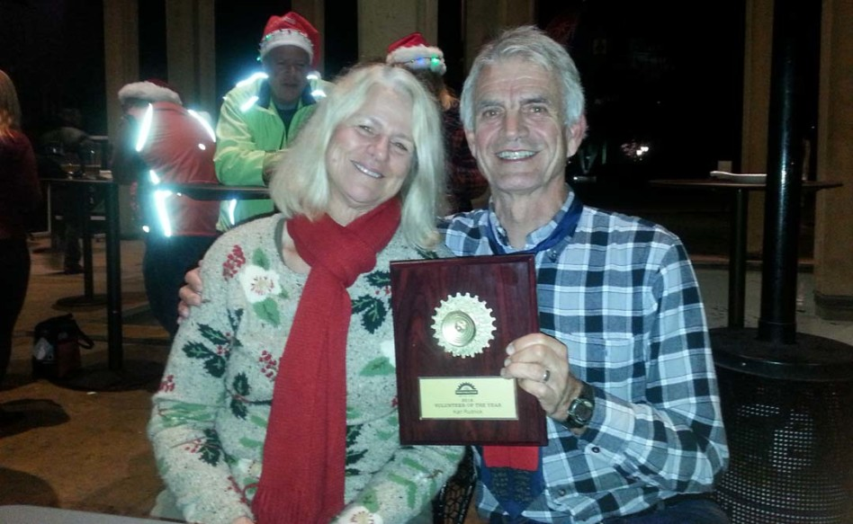 Solana Beach resident Karl Rudnick, right, pictured with his wife, Lisa Cooper, is 2016's San Diego County Bike Coalition's Volunteer of the Year. He was presented the award during the organization's Dec. 8 Golden Gear Awards in Balboa Park.  Courtesy photo