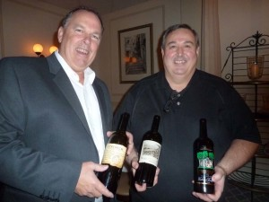 Napa Valley's Frank Family Vineyards winemaker Todd Graff and Sommelier Dino Buzunis share notes on the latest Frank releases, at the wine dinner hosted by Parc Bistro-Brasserie in San Diego. Photo by Frank Mangio