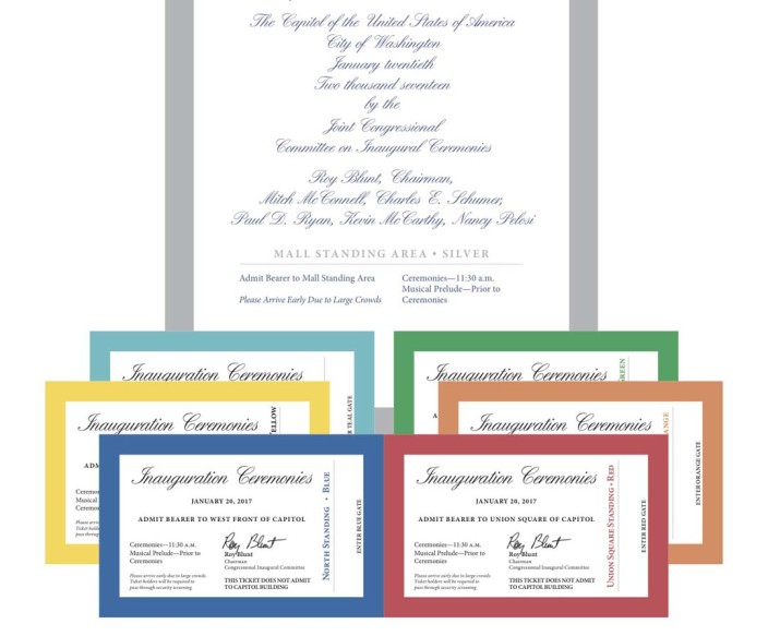 The Joint Congressional Committee on Inaugural Ceremonies showcases the presidential inauguration tickets earlier this week. While tickets are meant to be free, scalpers are seeking to sell the tickets online for thousands of dollars.  Image courtesy Joint Congressional Committee on Inaugural Ceremonies