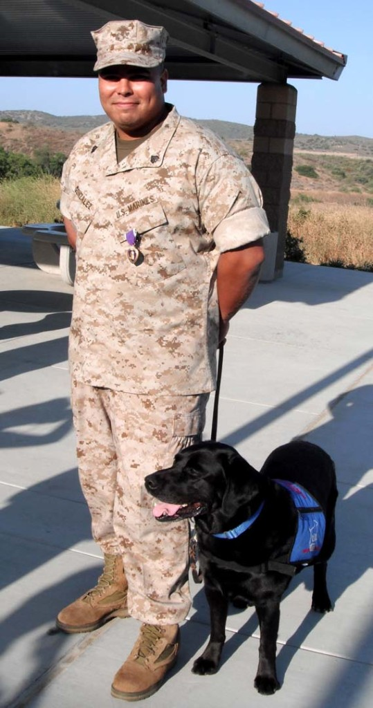 Richard Gonzalez, a retired Marines staff sergeant, with his service dog Charles a Labrador from the Freedom Dogs nonprofit. Courtesy photo