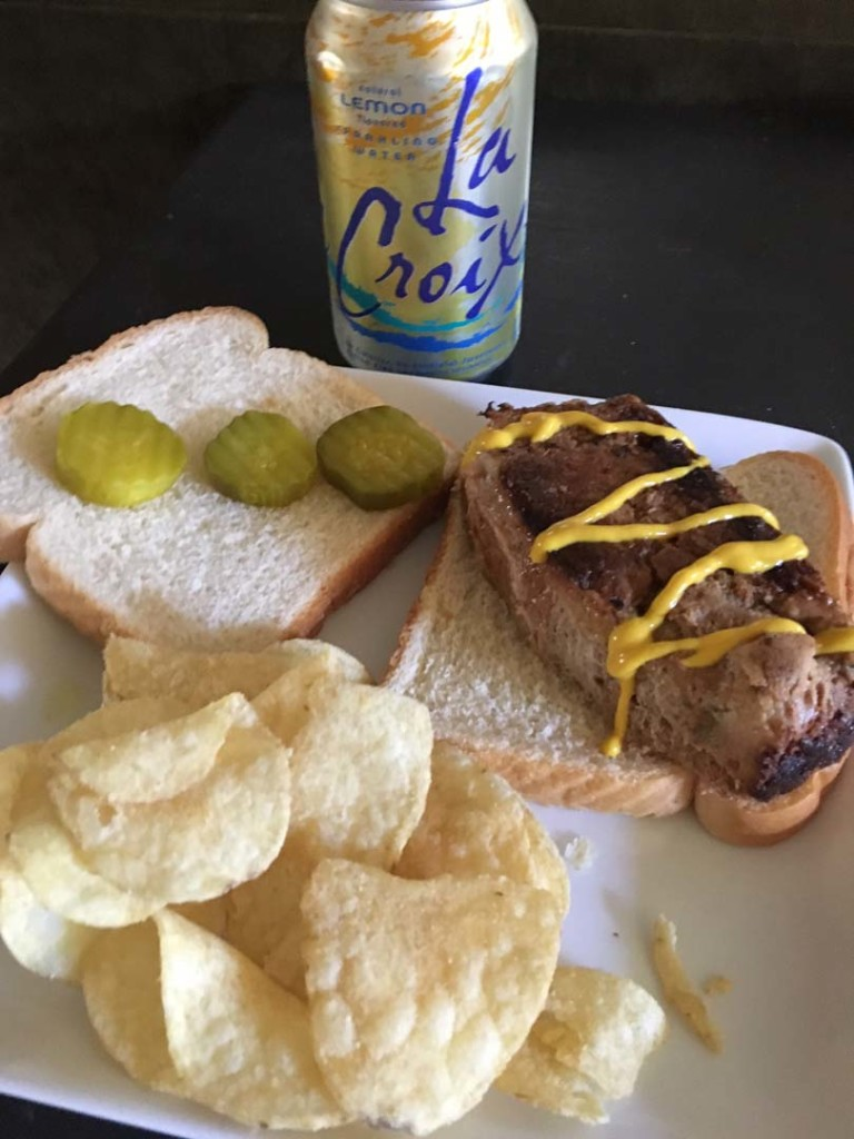 A favorite in-house munchie delight is a meat loaf sandwich on Wonder Bread with chips and carbonated beverage.   Photo by David Boylan