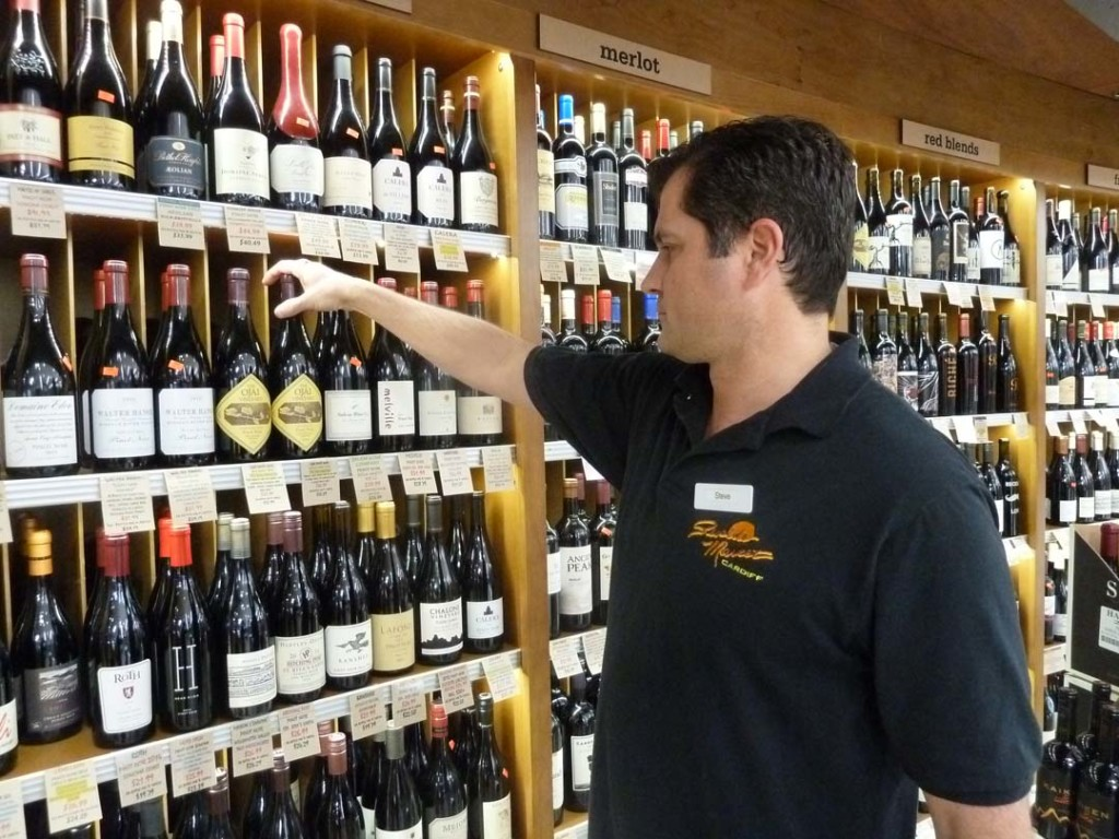 The talk of Seaside Market in Cardiff is its complete wine department under the expert direction of wine buyer Steve Ark. Photo by Frank Mangio