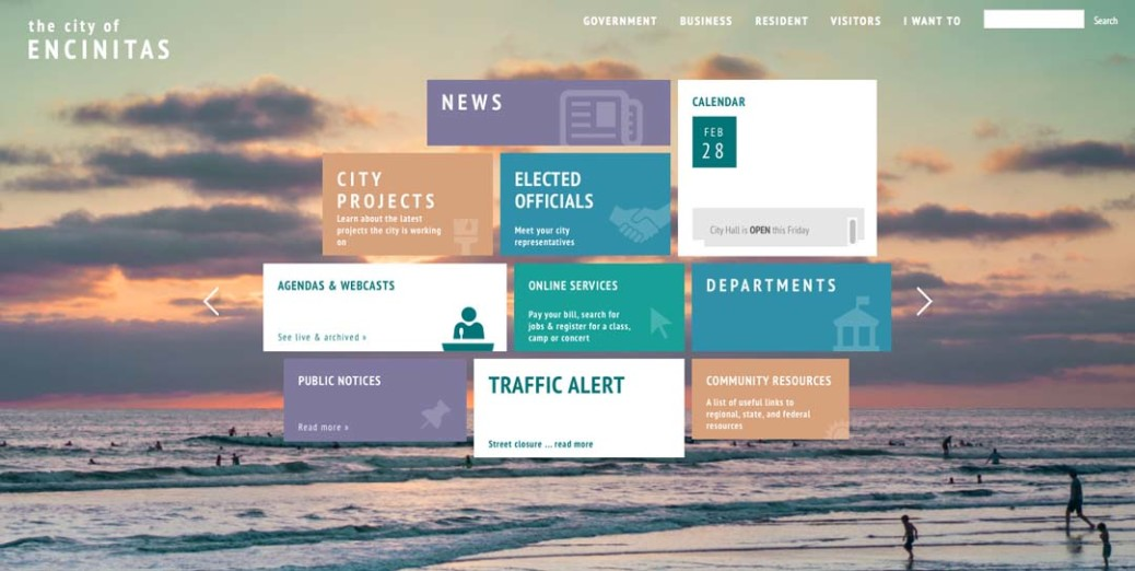 The city of Encinitas unveils a soft launch of their new website this week. Screen shot courtesy encinitasca.gov