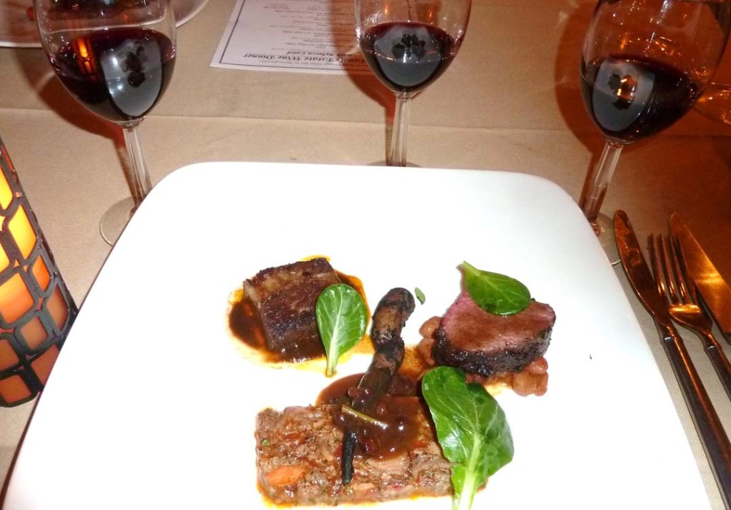 The Barrel Room Executive Chef Trevor Chappell offers a main entrée of Oxtail Terrine, Espresso Elk Striploin and Braised Short Rib, to go with the vertical wine threesome of Laird Jillian's Blend. Photo by Frank Mangio