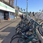 Rental bikes await the adventurous on the boardwalk at Redondo Beach. (Photo by Jerry Ondash)