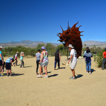 "The crowds were out in force during March to see the ""super bloom"" in Anza Borrego Desert, as well as the 70 metal sculptures created by Ricardo Breceda. This is the head of a giant serpent that spans the road."