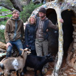 (L to R) Board members Ryan Matson, Tracy Schinagel and David Whipple, and resident goats Anika and Zoya, work to repair and preserve Eliphante, the former home of artist Michael Kahn and wife Leda Livant. (Photo by Jerry Ondash)