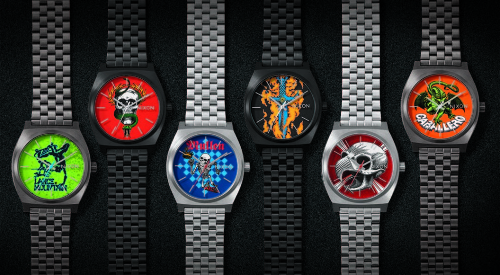 The six Nixon x Bones Brigade watches are available individually or as a boxed set. Image courtesy Nixon