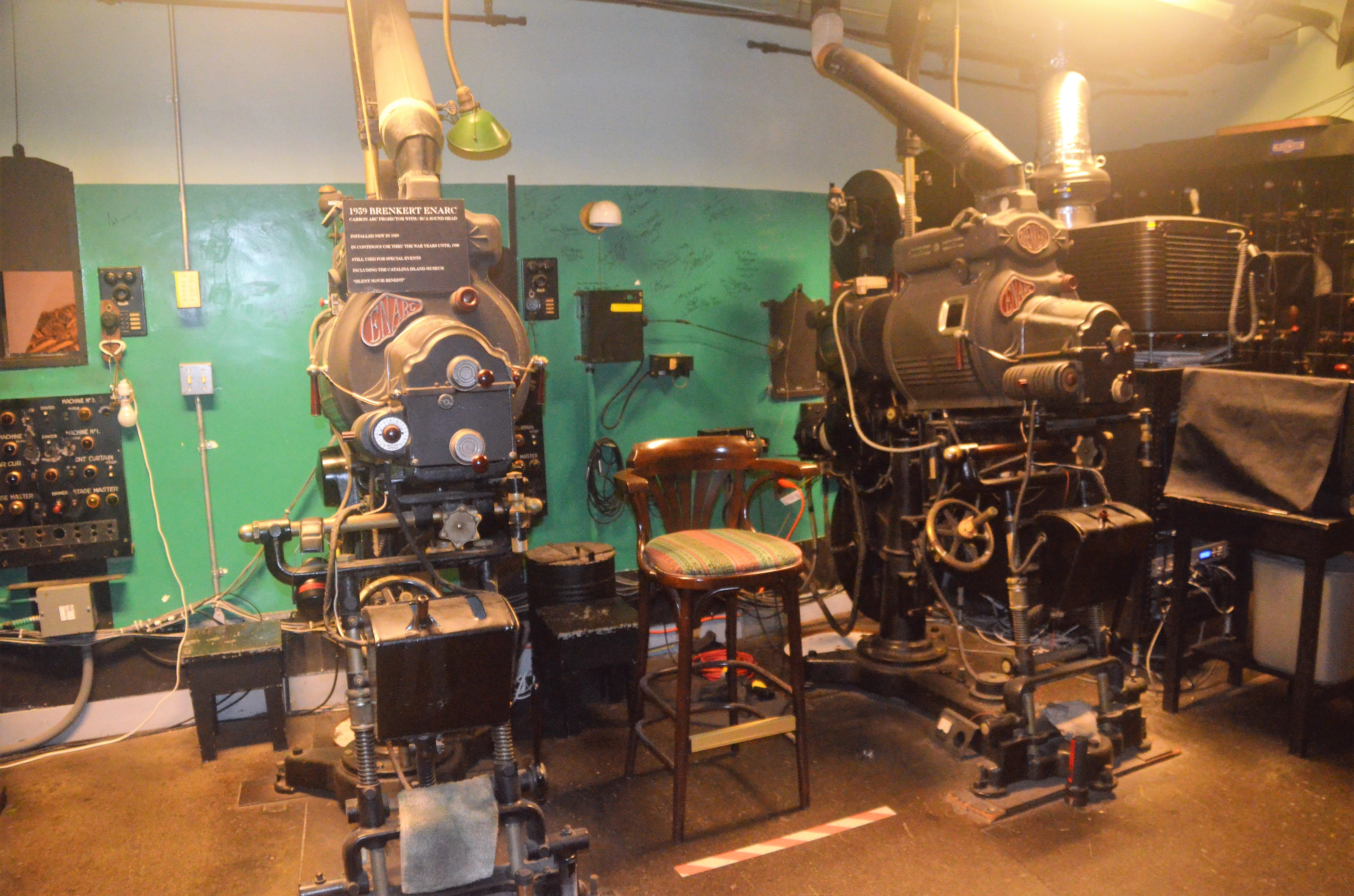 Projectors from the early 20th century, which screened silent films and some of the first talkies, can been seen during the Behind-the-Scenes tour through Avalon's iconic Casino. The well maintained landmark is still used frequently for events, and current movies are shown regularly in its nearly 100-year-old theater. Photo by Jerry Ondash