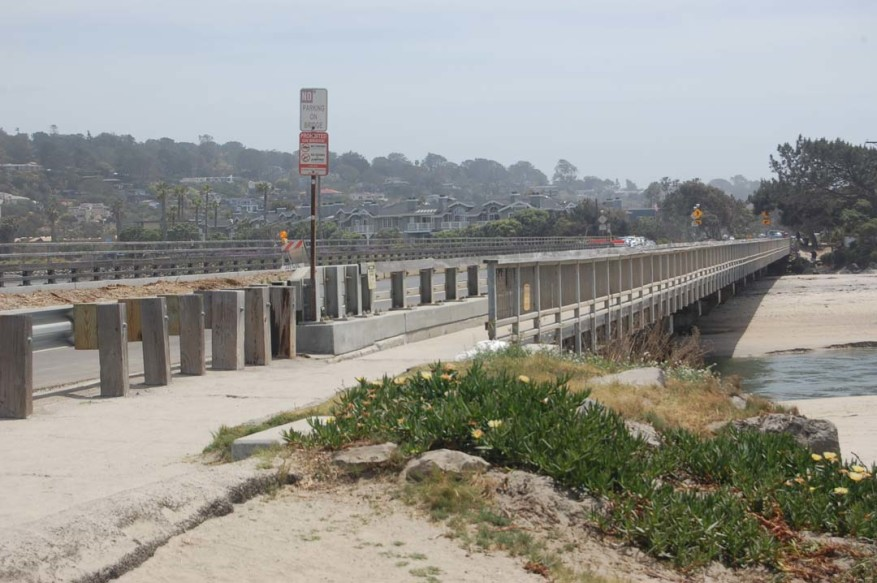 Plans are in the works to replace the San Dieguito River Bridge, but the two-year construction project won't start until at least 2020.  Although the 85-year-old structure is deteriorating and cracking, it has been deemed safe.  Photo by Bianca Kaplanek