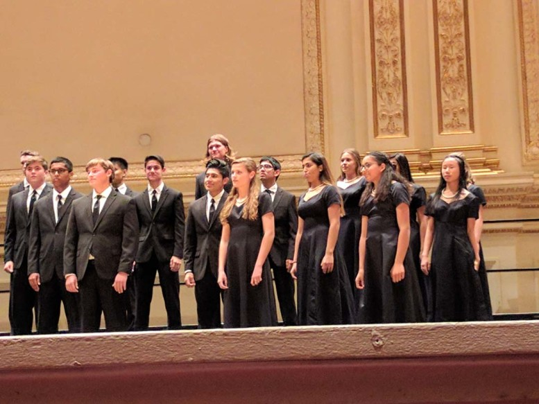 Pacific Ridge students perform on stage at Carnegie Hall. The students worked all year for their performance in the WorldStrides National Youth Choir. Photo courtesy Lin Shaw
