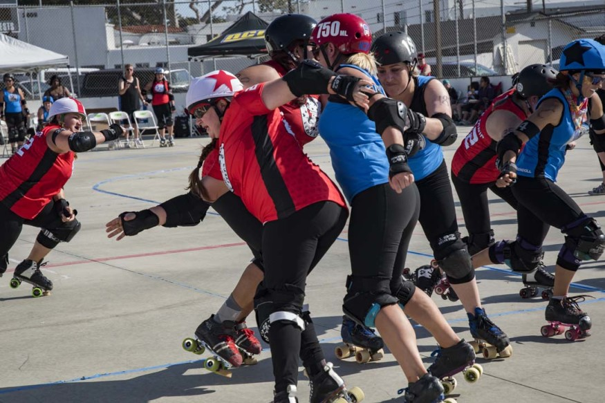 The North County Derby Alliance routs the Inland Empire Derby Divas last Saturday during the Spring Roll match at Carlsbad's Army Navy Academy.  Courtesy photo
