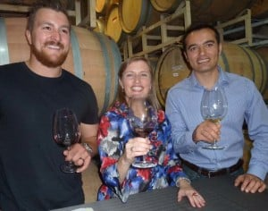 2Plank Vineyards Assistant winemaker Mike Syzmaczak, travel expert Tamara Golden and cheese consultant Cetin Barlas. Photo by Frank Mangio