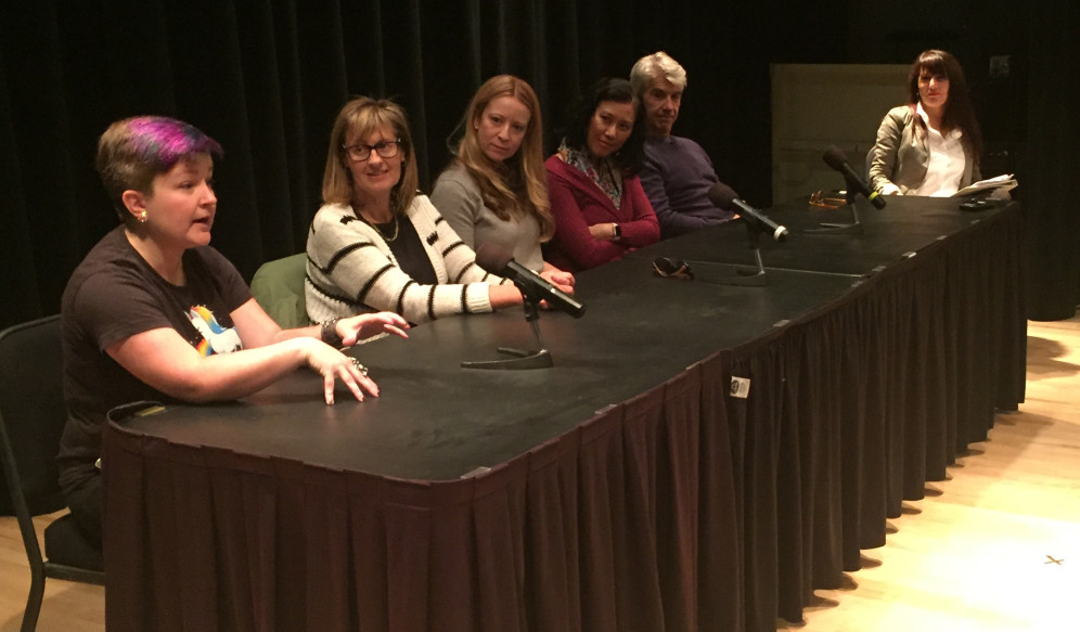 From Left to Right: Kiersten White, Barrie Summy, Robin Benway, Cindy Pon, and D.J. MacHale, and moderator Ona Russell. Photo Adam Sullivan