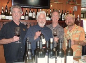 A gathering of COHO wine lovers included: Bill Tobin, co-owner of North County Wine Company, Gary Lipp of COHO Wines, JimTobin co-owner of NCWC and Frank Mangio wine columnist. Photo courtesy Frank Mangio