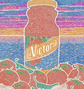 Gregg Visintainer's winning artwork depicts a bottle of La Victoria salsa with a sunset and beach in the backdrop. The San Marcos artist recently won first prize in La Victoria's art contest. Courtesy image