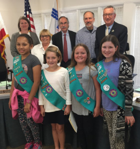 Girl Scout Troop 4503 members Rhedis Dickens, Mattea Battenfield, Emma Hannah and Alexis Quesnell were recognized by Del Mar City Council members Ellie Haviland, Sherryl Parks, Dave Druker and Dwight Worden and Mayor Terry Sinnott for their efforts to discourage residents from using plastic bags. Troop members Sheila Menon and Alondra Rivera were unable to attend the May 15 meeting. Courtesy photo