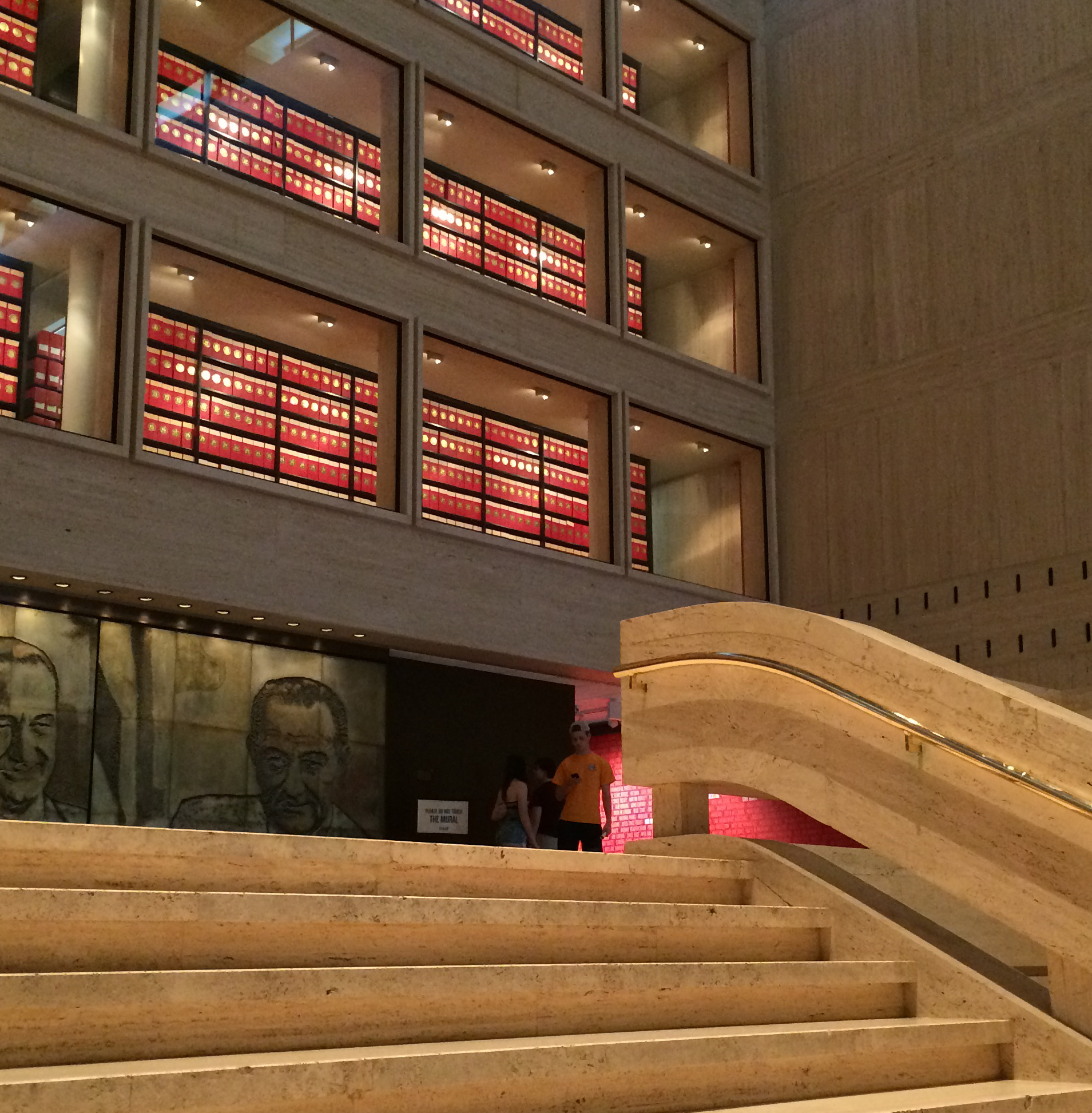 Glass windows at the Lyndon Baines Johnson Library and Museum expose the bright red boxes containing 45 million pages of historical documents gathered during LBJ's presidency (1963-1969). The library was dedicated in May1971; Johnson died in January 1973. (Photo by E'Louise Ondash)