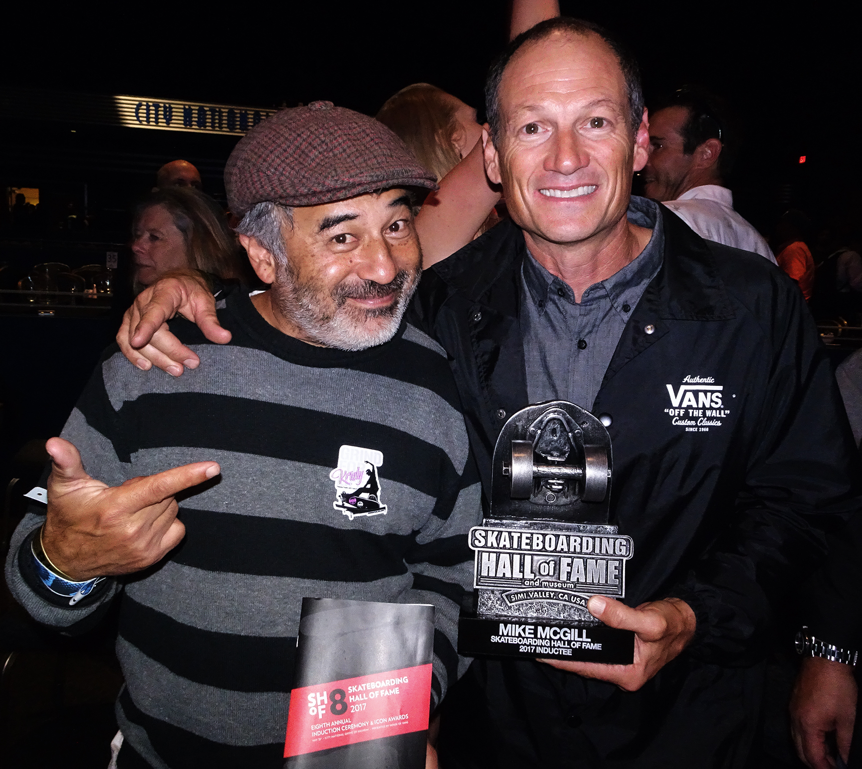 McGill (R ), with longtime friend and teammate Steve Caballero, after being inducted into the skateboarding Hall of Fame. PHOTO: BRITTAIN
