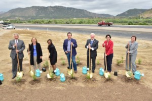 (left to right) Allan Kosup, Caltrans District 11 SR 76 Corridor Director; Karen Jewel, Caltrans District 11 SR 76 Project Manager; Monica Gourdine, Federal Highway Administration Associate Division Administrator; Gary Gallegos, SANDAG Executive Director; Ron Roberts, SANDAG Board Chair and County Supervisor; Doreen Stadtlander, U.S. Fish and Wildlife Service Division Chief, Unincorporated San Diego County, Tribal Lands; Laurie Berman, Caltrans District 11 Director. Photo courtesy Caltrans District 11.