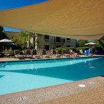 The heated pool at The Oaks at Ojai is used for numerous water-exercise classes for both hotel guests and community members.