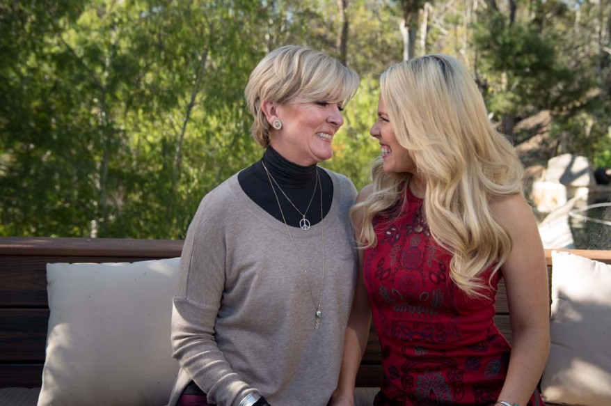 Emmy-award winning journalist Abbey Gibb, right, is launching her own online television network named AbbeyGibbTV.com. Rancho Santa Fe resident and realtor Janet Lawless Christ also sponsors the show and allows it to be filmed at her home.  Courtesy photo