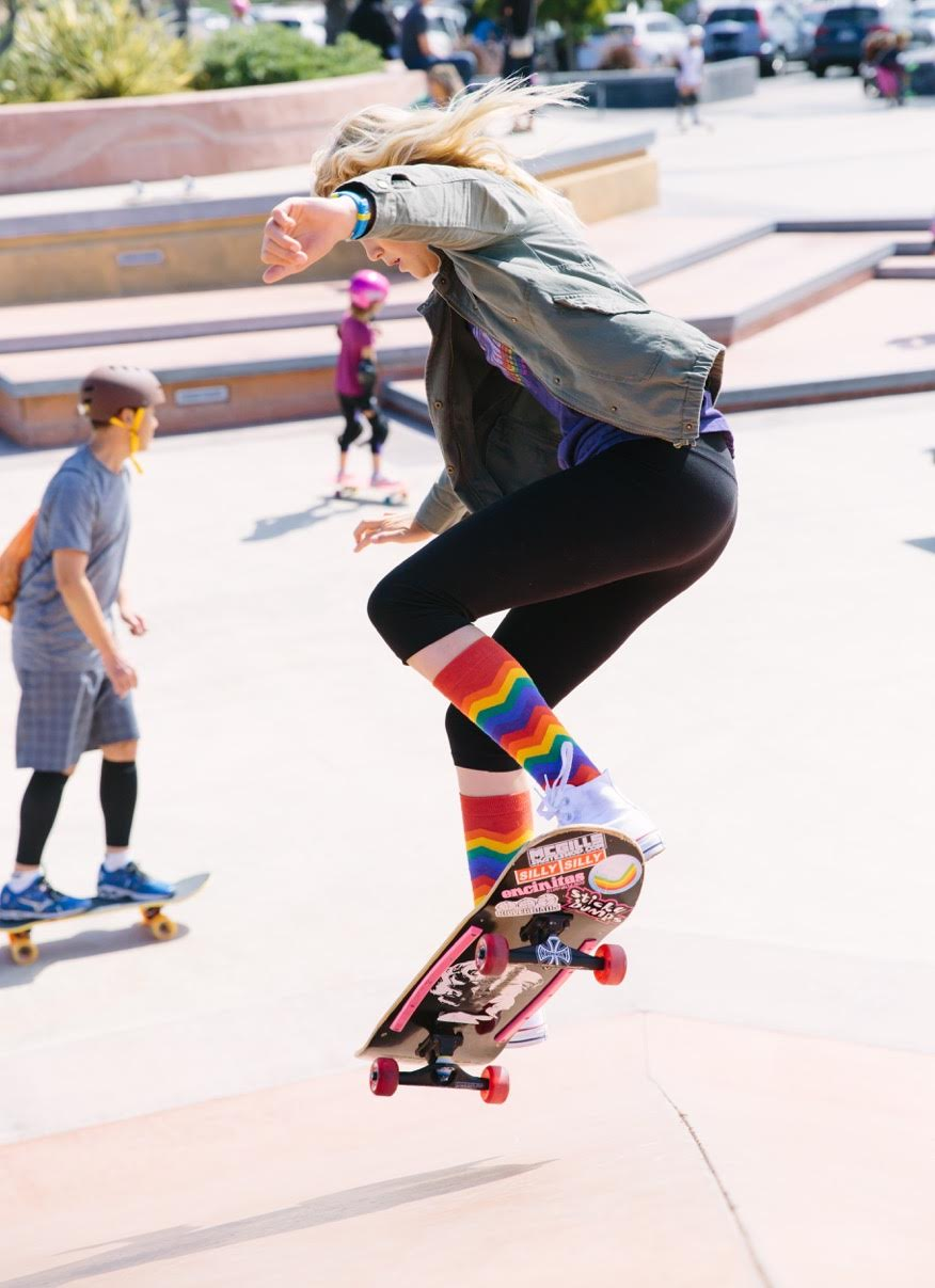 This picture of skater Bryce Wettstein was taken at Skate Rising, an all-girl youth program based in Encinitas that has monthly free events. The events take place at the Encinitas Community Skate Plaza on the second Saturday of every month from 9 to 11 a.m. The program teaches compassion through service and empowerment through skateboarding. Girls ages 4-18 are encouraged to participate and no experience is necessary to join in. The next event is on June 10. Contact calli@exposureskate.org for more information or follow on Facebook or Instagram @skaterising. Photo by Joanne Barratt