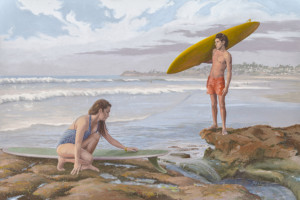Mural depicts one with same couple holding surfboards. Courtesy Photo