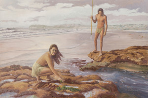 Mural depicts one couple on the beach with the husband armed with a hunting spear and the wife collecting seaweed. Courtesy Photo