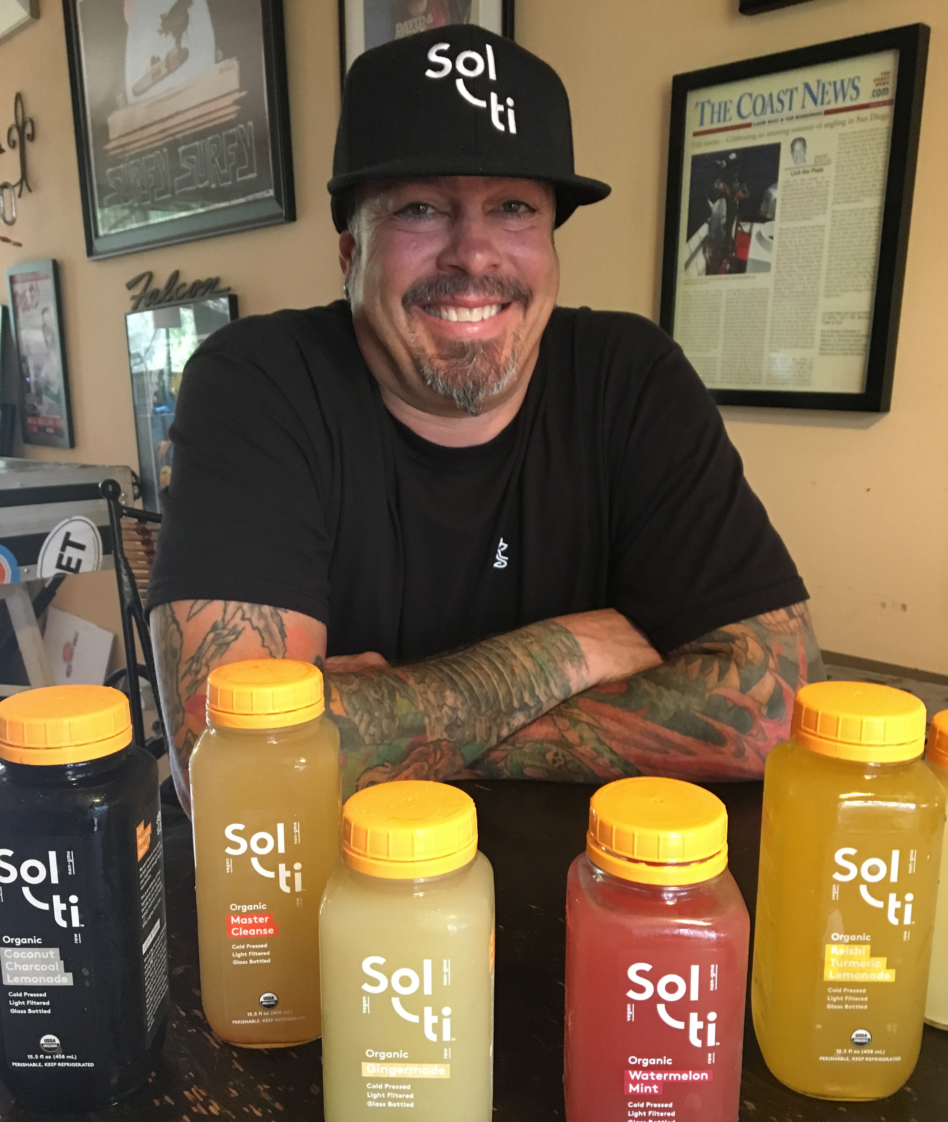 Solti San Diego Regional Sales Manager Christian Sutton with some of their fabulous juice. Photo David Boylan