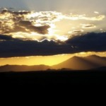 On May 11, Dan and Jenny are rewarded with a beautiful sunset over the San Francisco Peaks in northern Arizona.