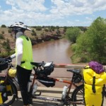 On May 22, Dan and Molly Mocha, The Copper Queen, pause on a bridge over the Pecos River near Santa Rosa, N.M. The tandem is so named because of its color and in honor of their home state of Arizona.