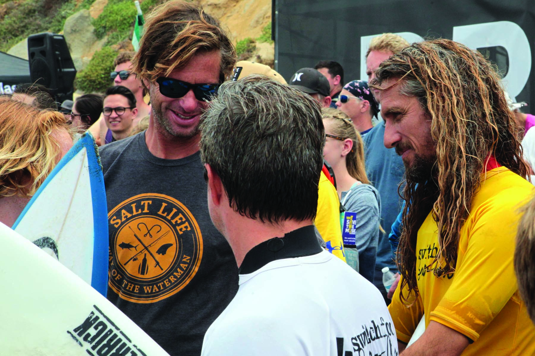 Local surfing icon Rob Machado, right, was on hand Saturday to help coach. Photo by Pat Cubel