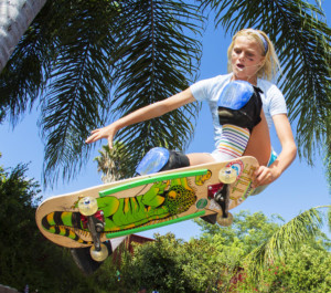 Bryce Wettstein 13, of Encinitas in the Women's Skateboard Park
