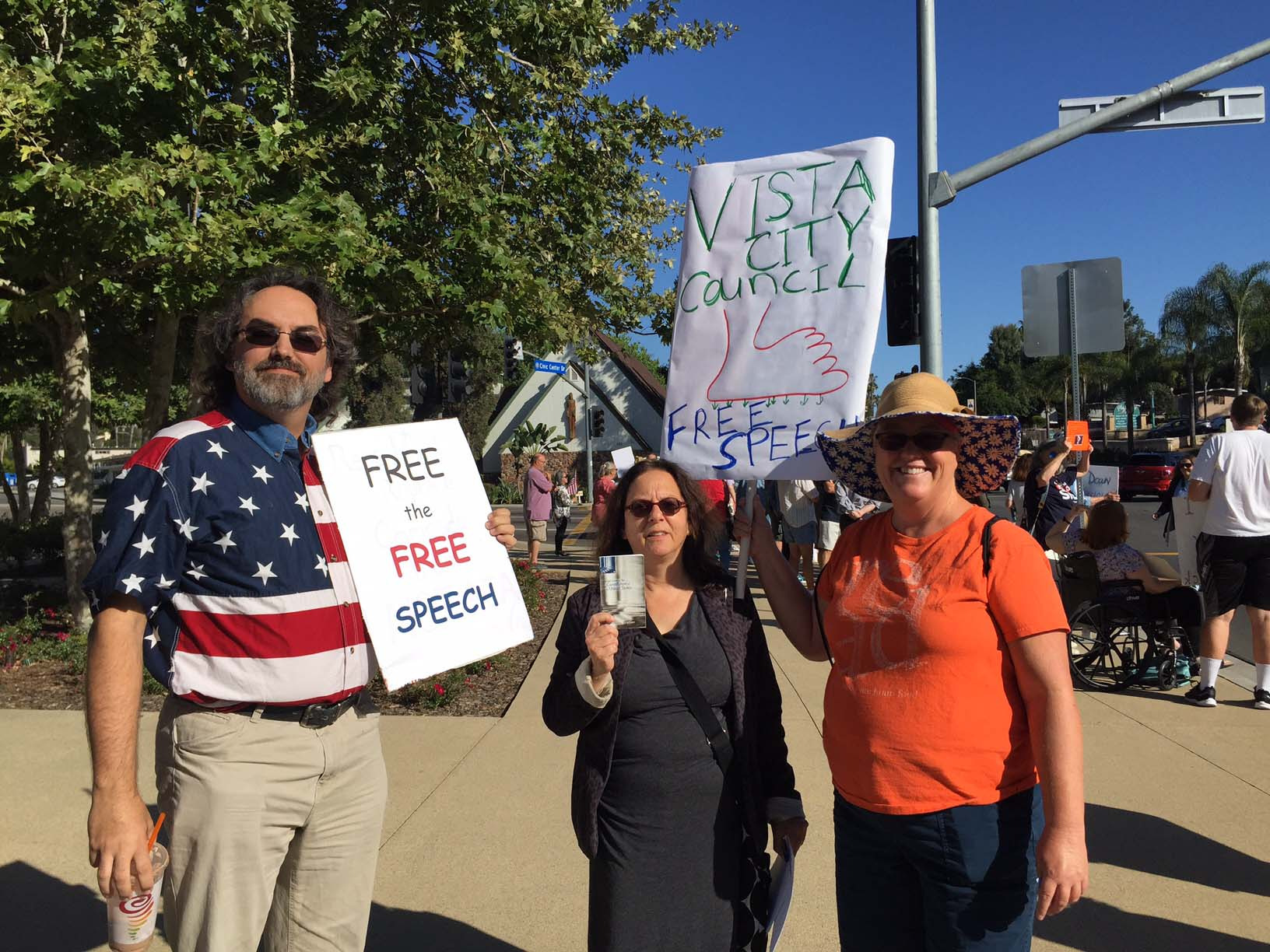 Protesters call for freedom of speech at Vista City Hall