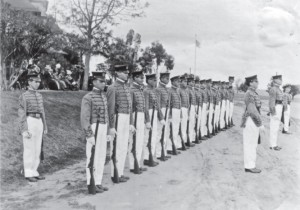 Cadets of the San Diego Army and Navy Academy stand in formation during a dress parade in the early 1900s. The academy opened in Pacific Beach with 13 students; two years later, there were 156. The school's founder, Captain Thomas Davis, welcomed foreign students, unlike most private schools of the day that restricted admissions to white Christians. Admission was  $600 a year for boarding students; $100 for day students. Uniforms cost about $50. (Author's collection)