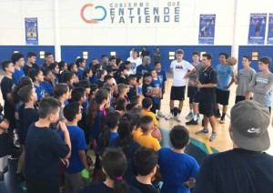 Above, Pacific Ridge basketball coach Chris Burman explains the rules of a friendly, competitive basketball scrimmage among youth leagues in Rosarito Beach, Mexico.