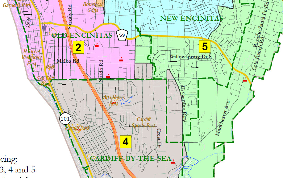 Number of draft Encinitas council district maps swell
