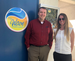 The Wave Waterpark Manager Angela Palasik, Therron Dieckmann, director of recreation community services with the city of Vista, prepare for the upcoming season kicking off in May. Photo by Christina Macone-Greene
