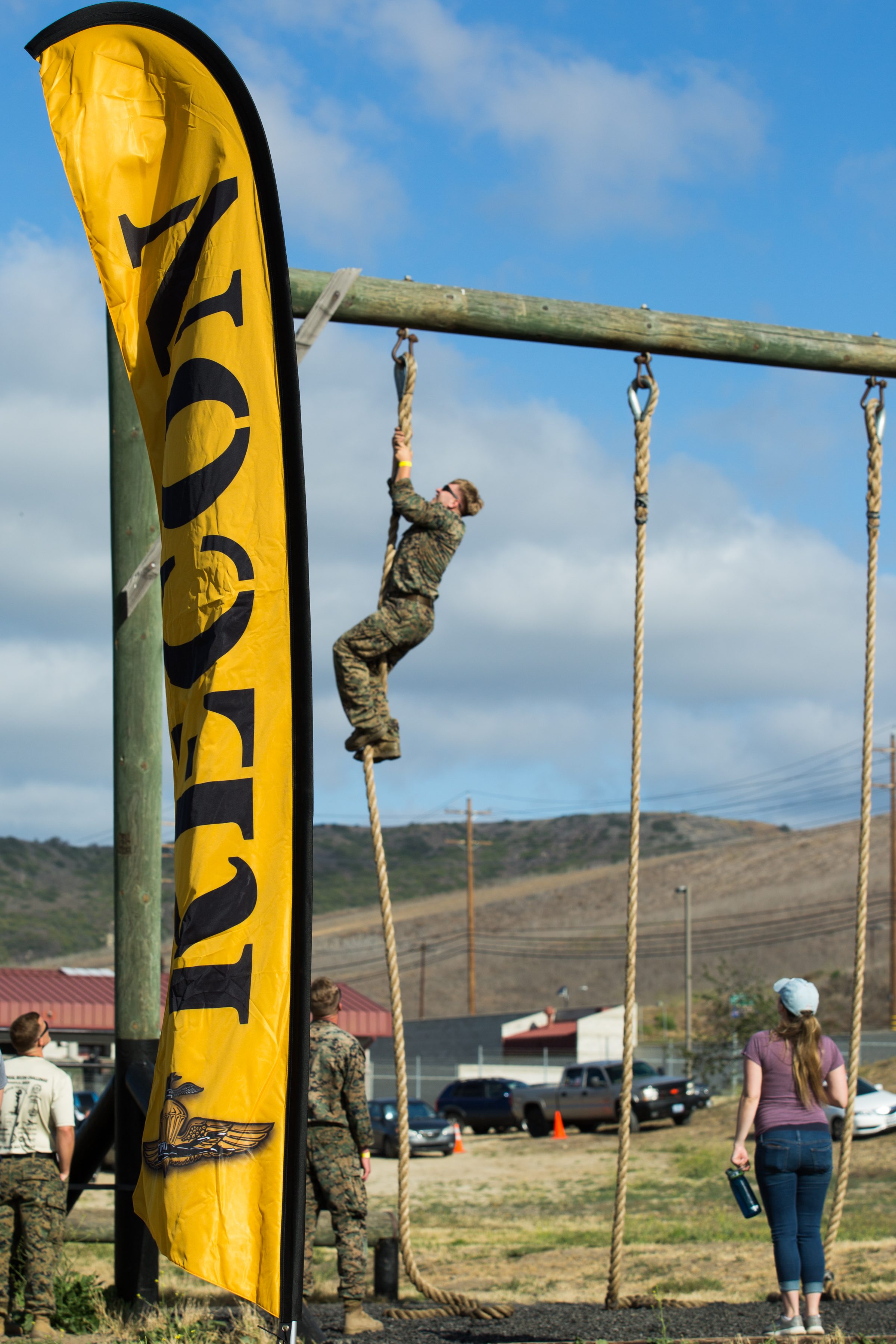 Recon Marines tackle the obstacle course of the Recon Challenge in memory of their fallen brothers Thursday morning at Camp Pendleton.