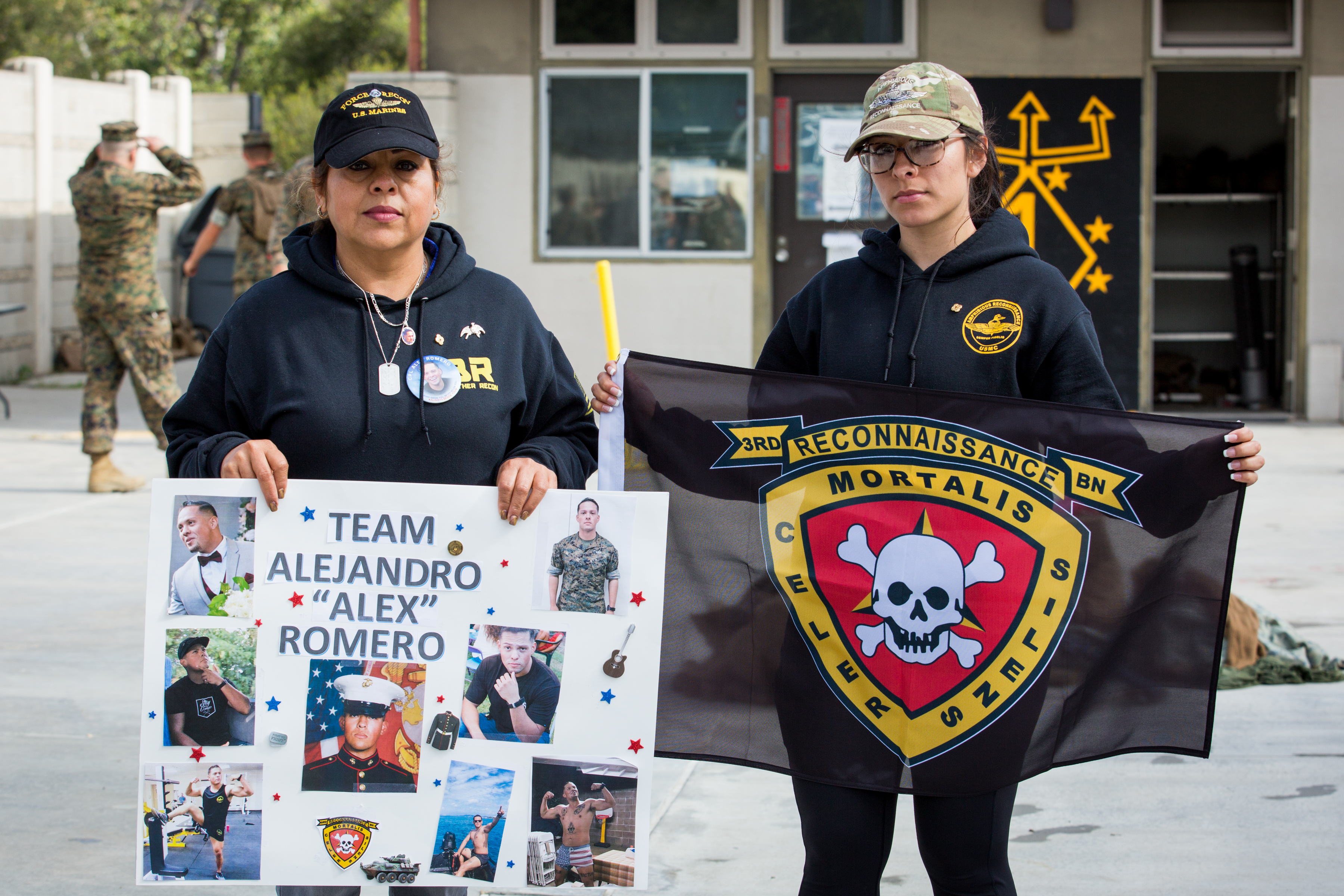 54 year old Maria Romero and her daughter-in-law, 23 year old Dani Romero, come to the Recon Challenge in memory of Alex Romero Thursday at Camp Pendleton.