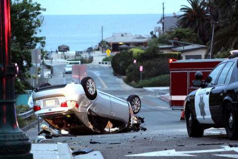 Woman falls asleep at wheel, hits two palm trees and rolls vehicle