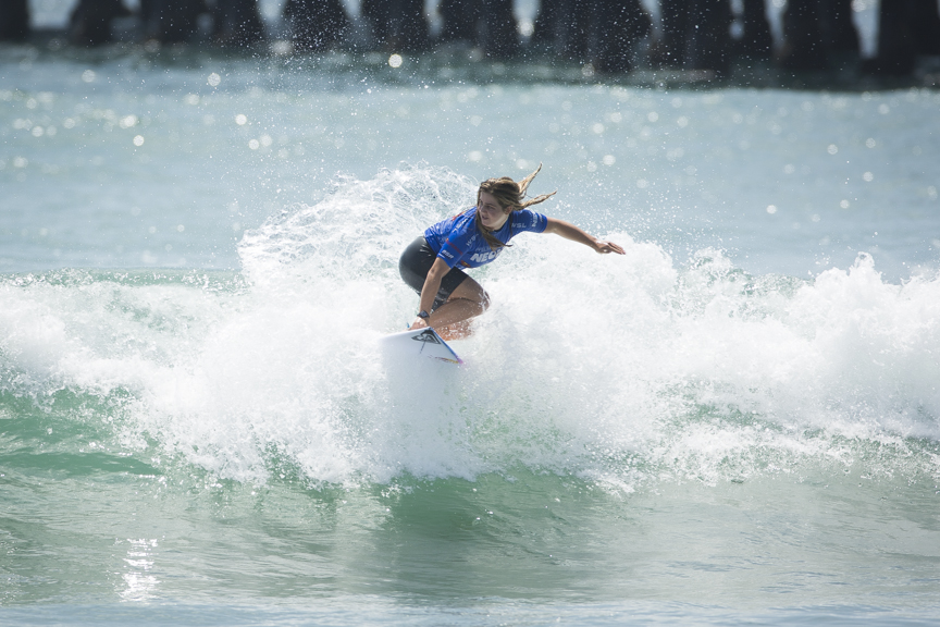 Caroline Marks of San Clemente competes in the Paul Mitchell Supergirl Pro Sunday in Oceanside.