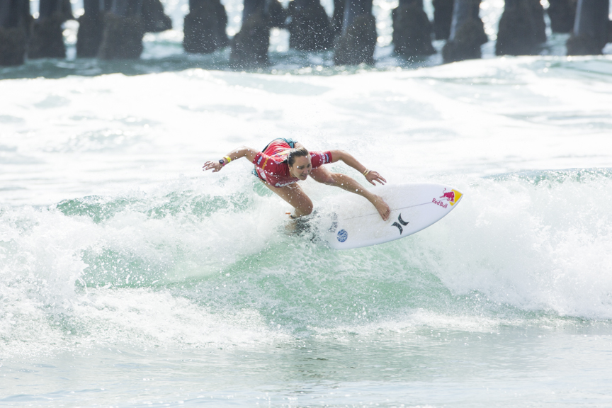 Carissa Moore of Hawaii competes in the Paul Mitchell Supergirl Pro Sunday in Oceanside.