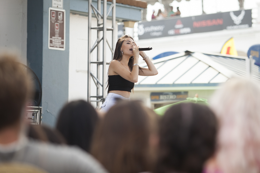 Madison Beer performs during the Paul Mitchell Supergirl Pro Sunday in Oceanside.