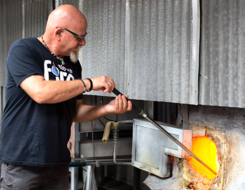 Local glassblowing artist welcomes fellow Italian craftsman