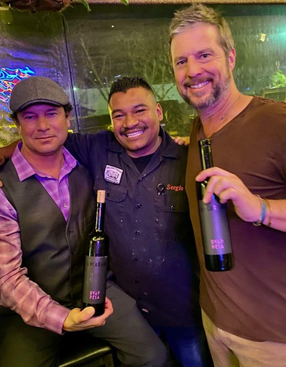 From left, Alluvial Wines San Diego Account Manager Bryan Taylor, Craftsman Tavern Chef Sergio Serrano and GM Mike Cusey. Photo by Frank Mangio